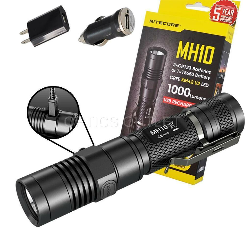nitecore mh10 1000 lumens compact usb rechargeable led flashlight w battery ebay. Black Bedroom Furniture Sets. Home Design Ideas