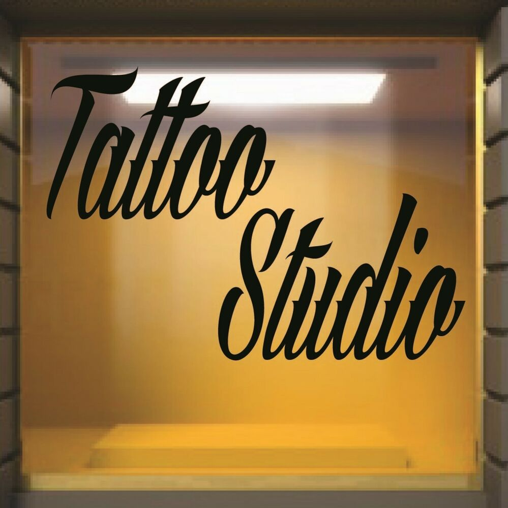 Tattoo studio shop sign shop window graphic vinyl for Tattoo shops hiring front desk