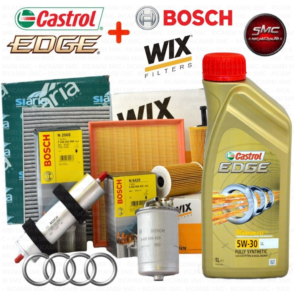 kit tagliando olio castrol edge 5w30 5lt 4 filtri audi a4 b8 2 0 tdi ebay. Black Bedroom Furniture Sets. Home Design Ideas