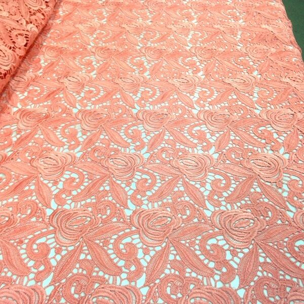 Rose floral guipure venice french lace embroidery fabric
