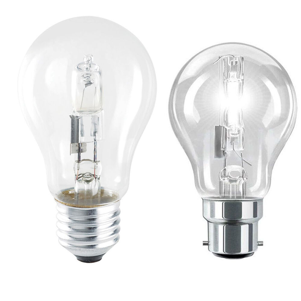 Halogen Eco Energy Saving Clear Gls Light Bulbs Bayonet Bc B22 Es E27 Screw Cap Ebay