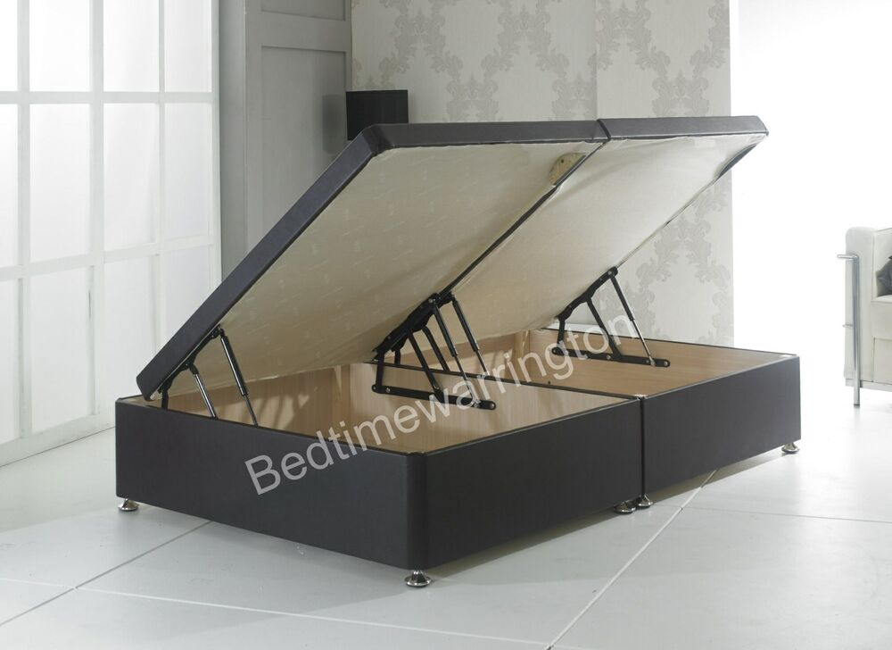 Ottoman Faux Leather Side Lift Divan Storage Bed Black