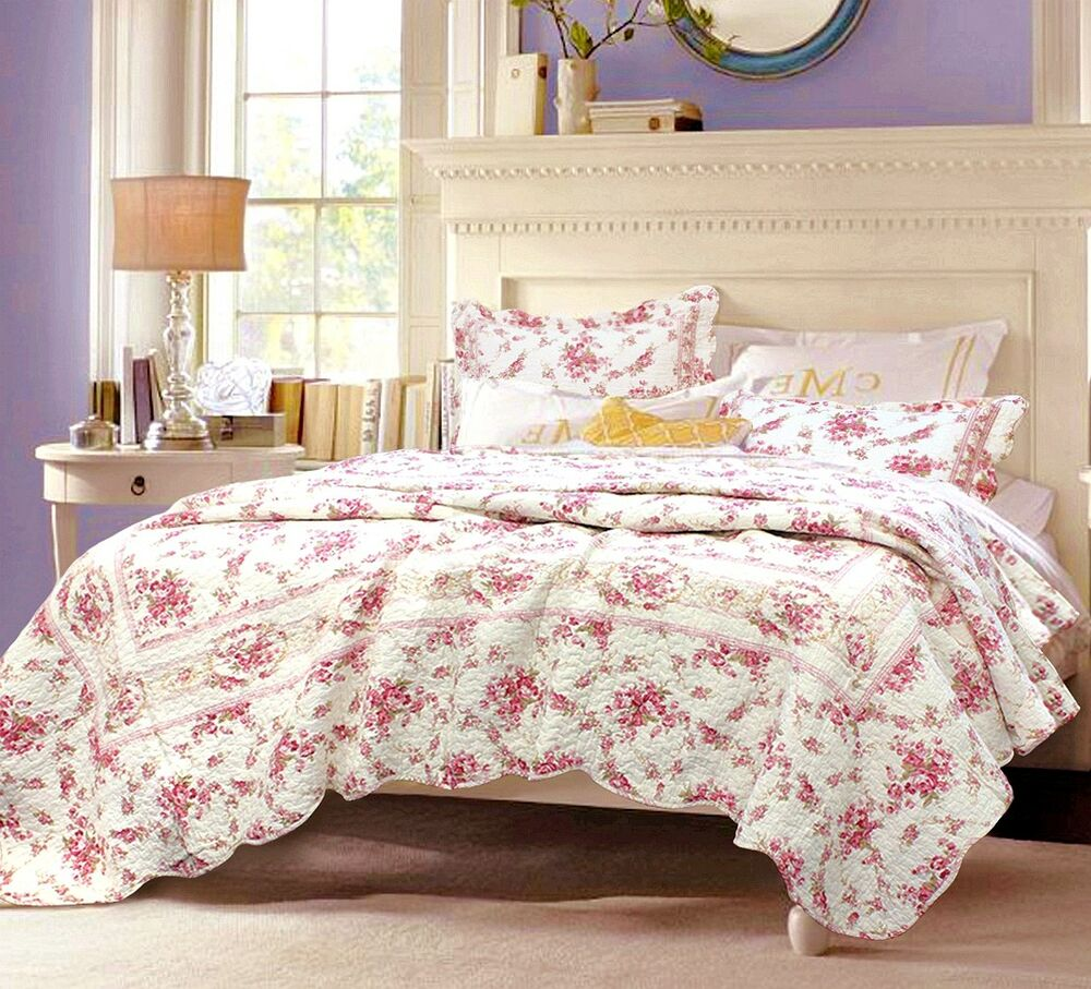shabby chic vintage rose 100 cotton quilt set bedspread. Black Bedroom Furniture Sets. Home Design Ideas