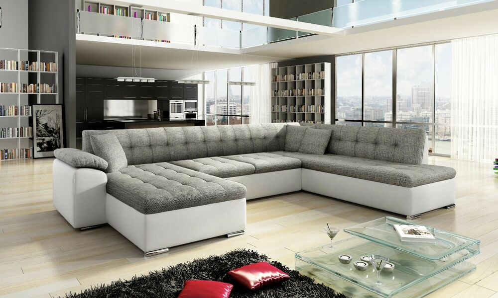 Sale new scafati fabric leather corner sofa with bed in for Sofas pequenos y comodos