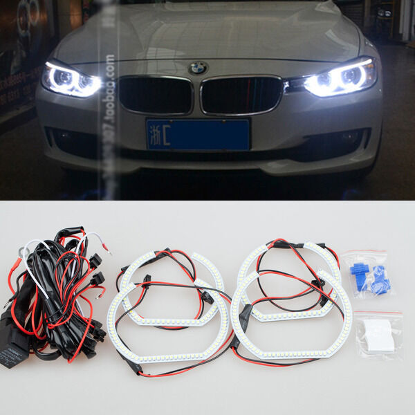 4pcs 6000k white led smd angel eyes halo rings lights for bmw f30 e90 e92 m3 m4 ebay. Black Bedroom Furniture Sets. Home Design Ideas
