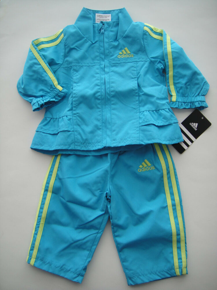Adidas Nwt Girl 2pc Track Suit Jacket Top Pant Wind Medium