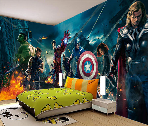 Avengers marvel heros iron man 3d full wall mural photo for Avengers wallpaper mural