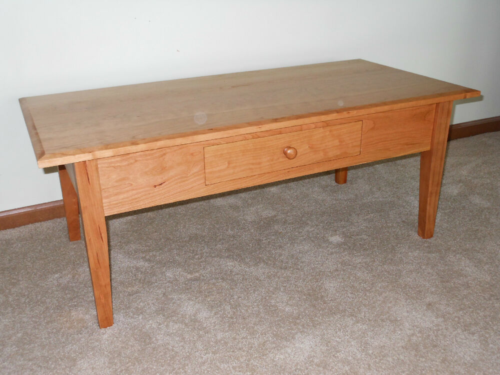 Solid Cherry Handmade Living Room Wood Shaker Coffee Table Ebay