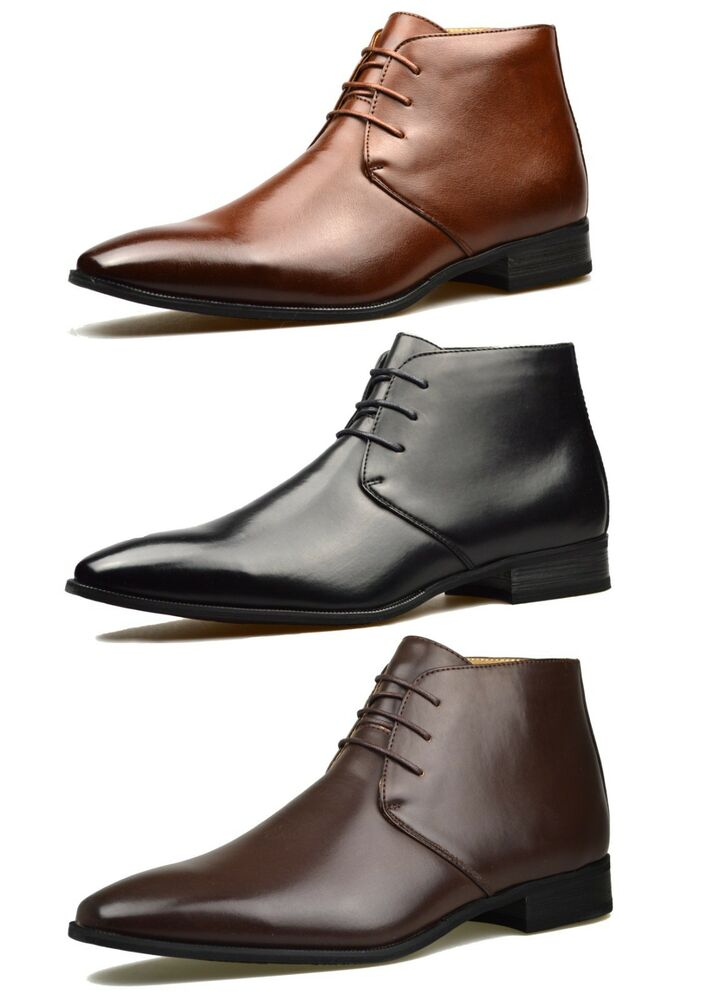 mens brown leather smart formal casual lace up boots shoes