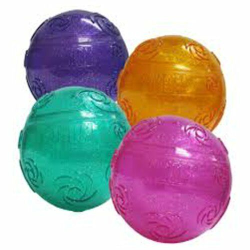 Rubber Ball Dog Toy : Kong squeezz crackle ball rubber bounce fetch dog toy