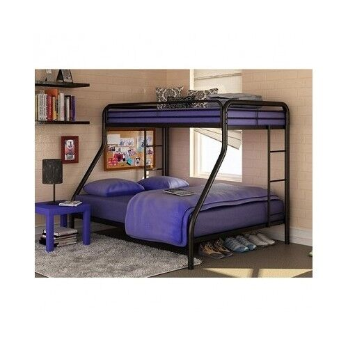 Bunk Bed Twin Over Full Metal Ladder Dorm Kids Bedroom Furniture Beds Loft Do