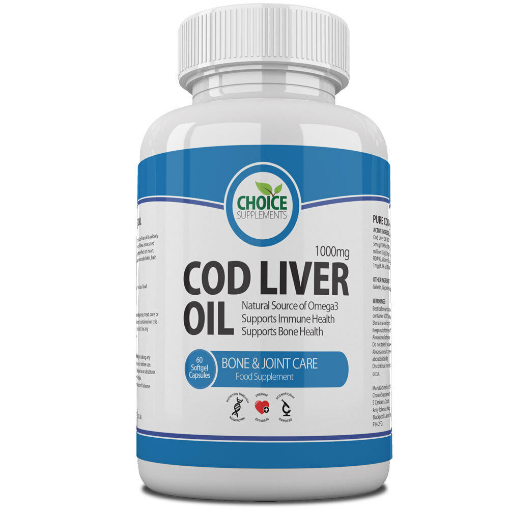 Cod liver oil 1000mg high strength softgel capsules free p for Recommended daily dose of fish oil