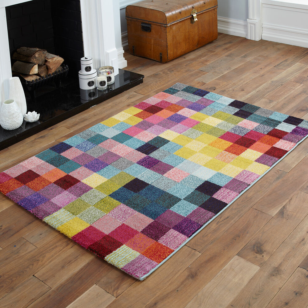 New orange red brown yellow pink box pattern multi colour for Cheap good quality rugs