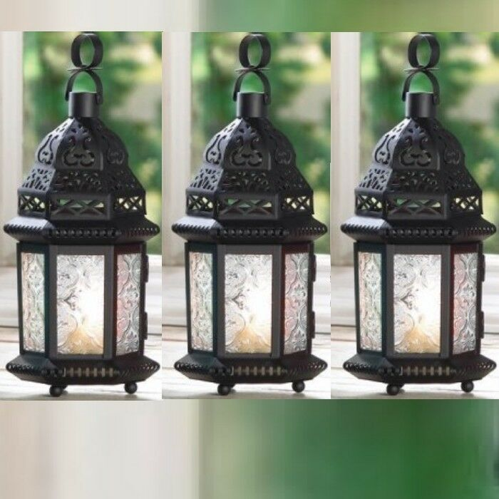 Black lantern small cutout metalwork candle holder