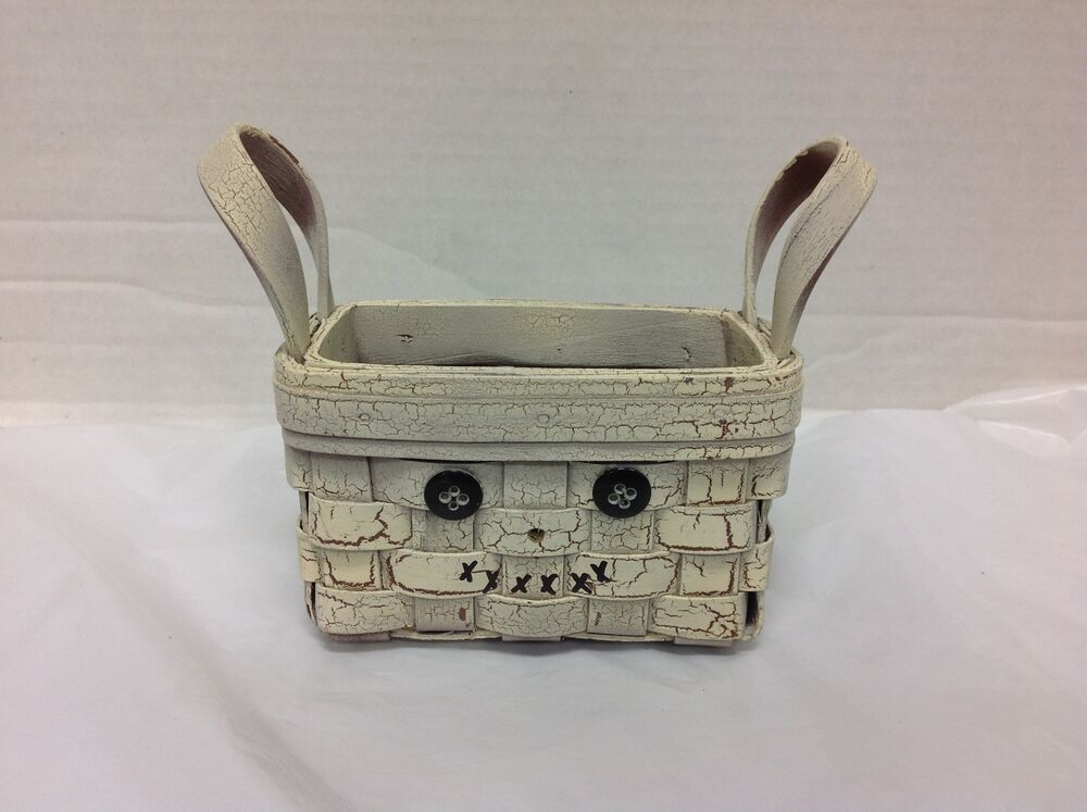 home decor rectangular rustic wicker woven basket with handles distressed white ebay. Black Bedroom Furniture Sets. Home Design Ideas