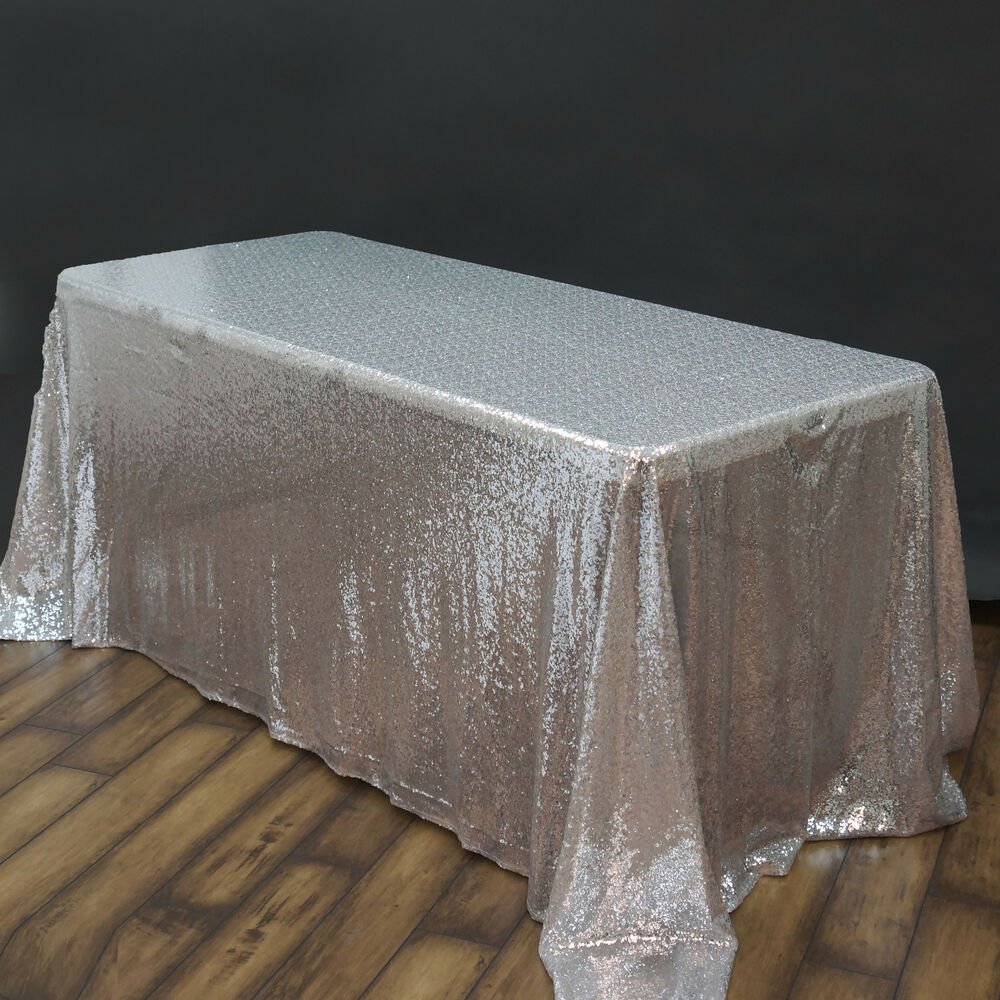 "SILVER Sequined 90x132"" RECTANGLE TABLECLOTH Designer ..."