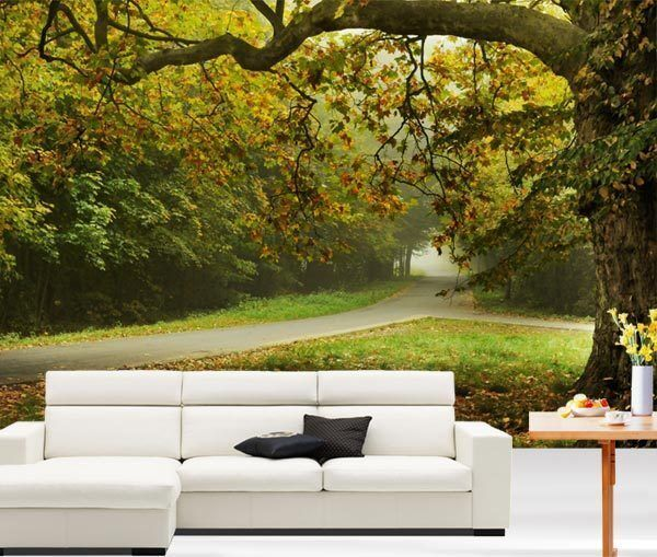 Autumn park scenery tree road 3d full wall mural photo for Home wallpaper ebay