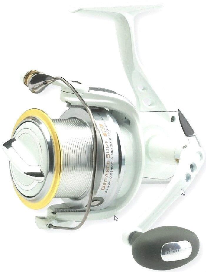 Okuma white distance 80 surf reel long range casting big for Surf fishing reel