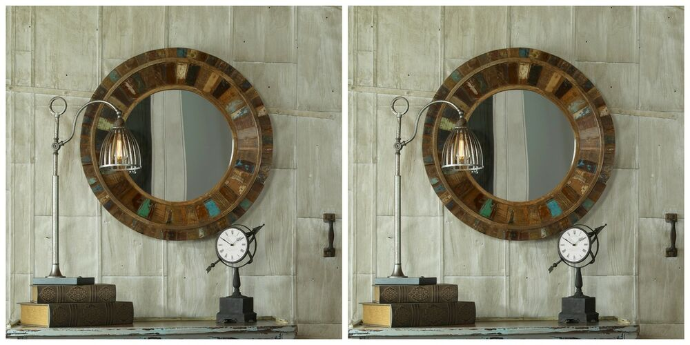 two large rustic colors reclaimed old door wood mango wood round wall mirror ebay. Black Bedroom Furniture Sets. Home Design Ideas