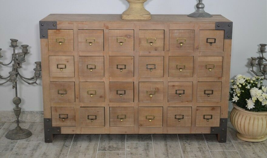 kommode shabby chic 24 schubladen schrank holz sideboard mini landhaus mit ebay. Black Bedroom Furniture Sets. Home Design Ideas