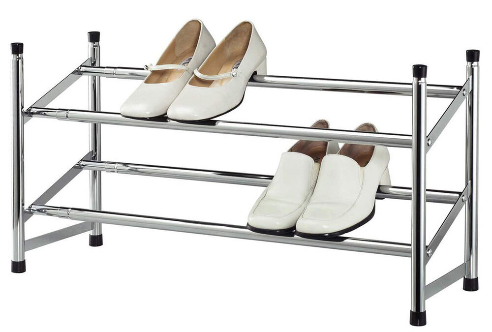 Expandable Space Saving Two Tier Chrome Bedroom Closet 8 Pair Shoe Rack Ebay