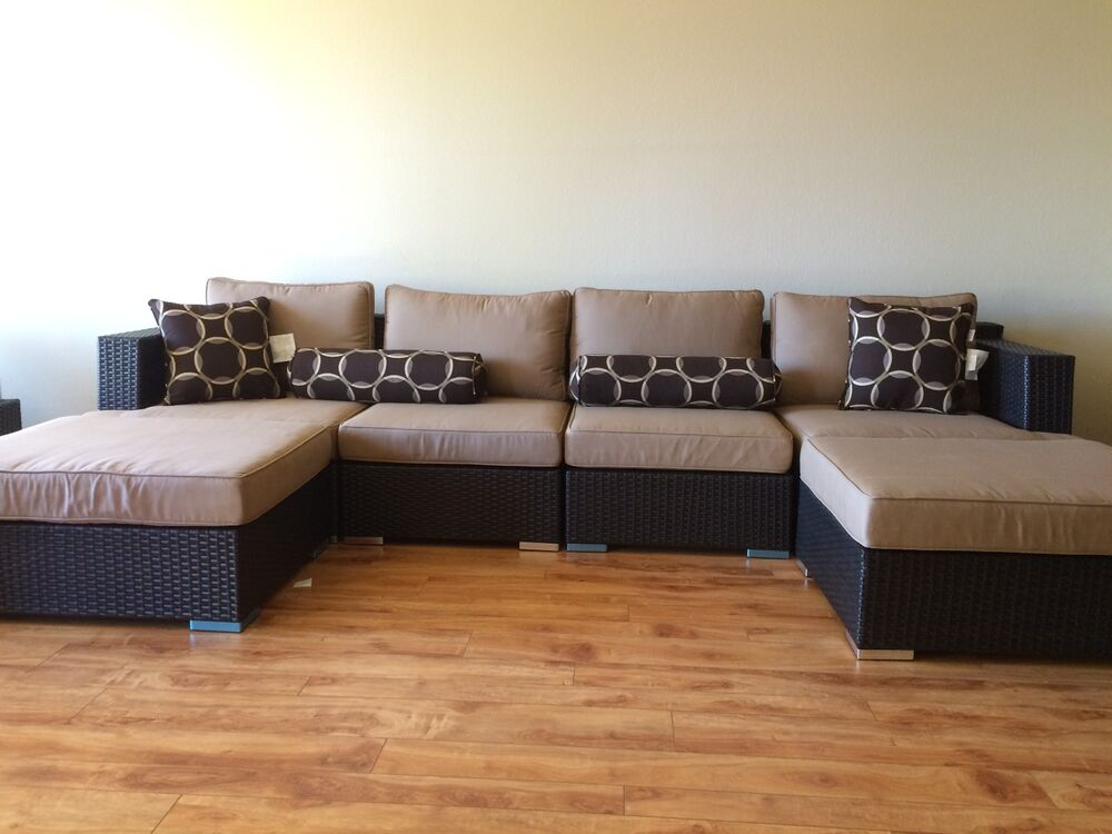 6 piece patio sectional sofa by sirio ebay. Black Bedroom Furniture Sets. Home Design Ideas