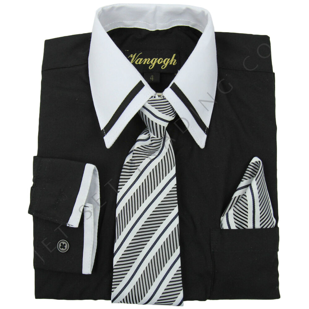Boys black dress shirt striped white contrast long sleeve for White non iron dress shirts
