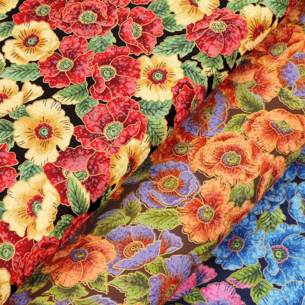 Japanese print cotton fabric fq oriental floral asian for Cotton quilting fabric