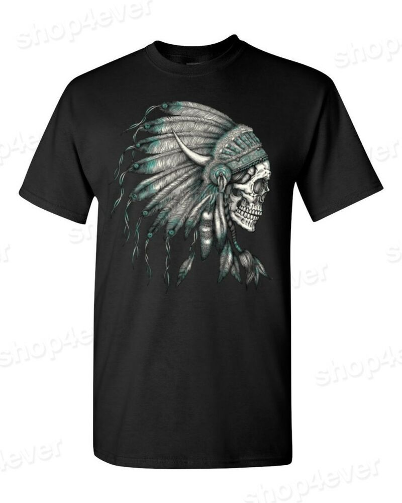 New Skull Headdress T Shirt Indian Skull Shirts Native