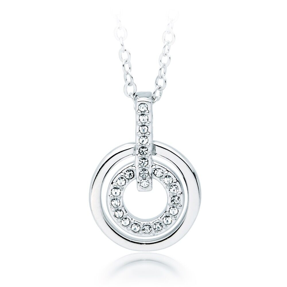 Circle Pendant Necklace w Swarovski Crystals White Gold ...