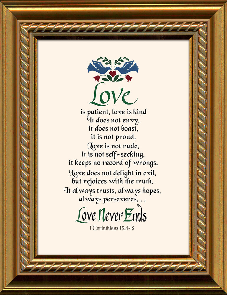 Wedding Gift Framed Art : Love is Patient Framed Art Gift of Motivational Verses for Wedding ...
