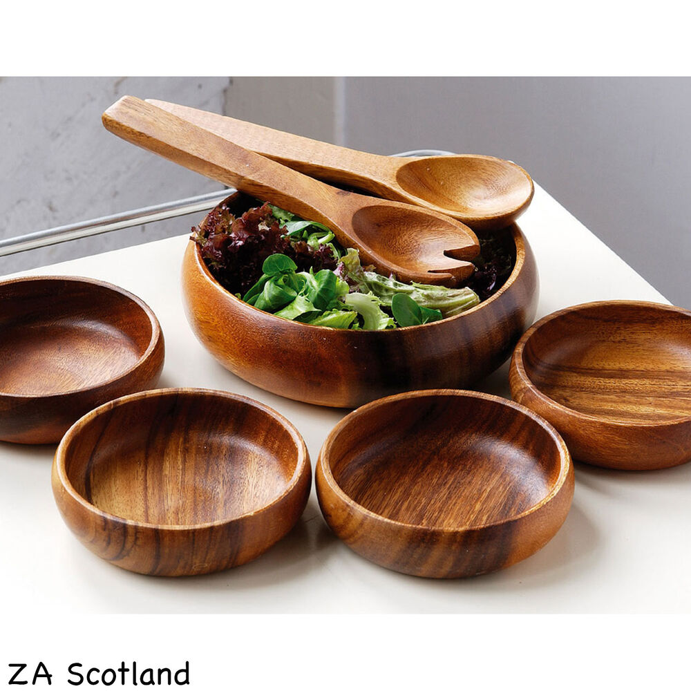 Amazing new 7 piece set wooden food salad serving bowl 4 for Cuisine wooden