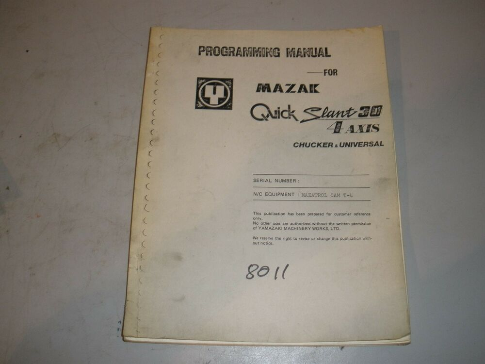 Mazak 6000 programming manual