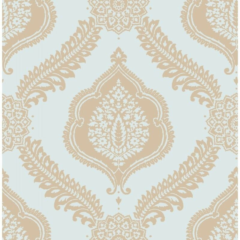 abingdon soft teal blue gold metallic damask wallpaper