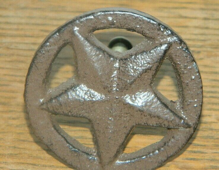 Set 4 rustic iron western texas star cabinet drawer pulls for Star cabinet pulls