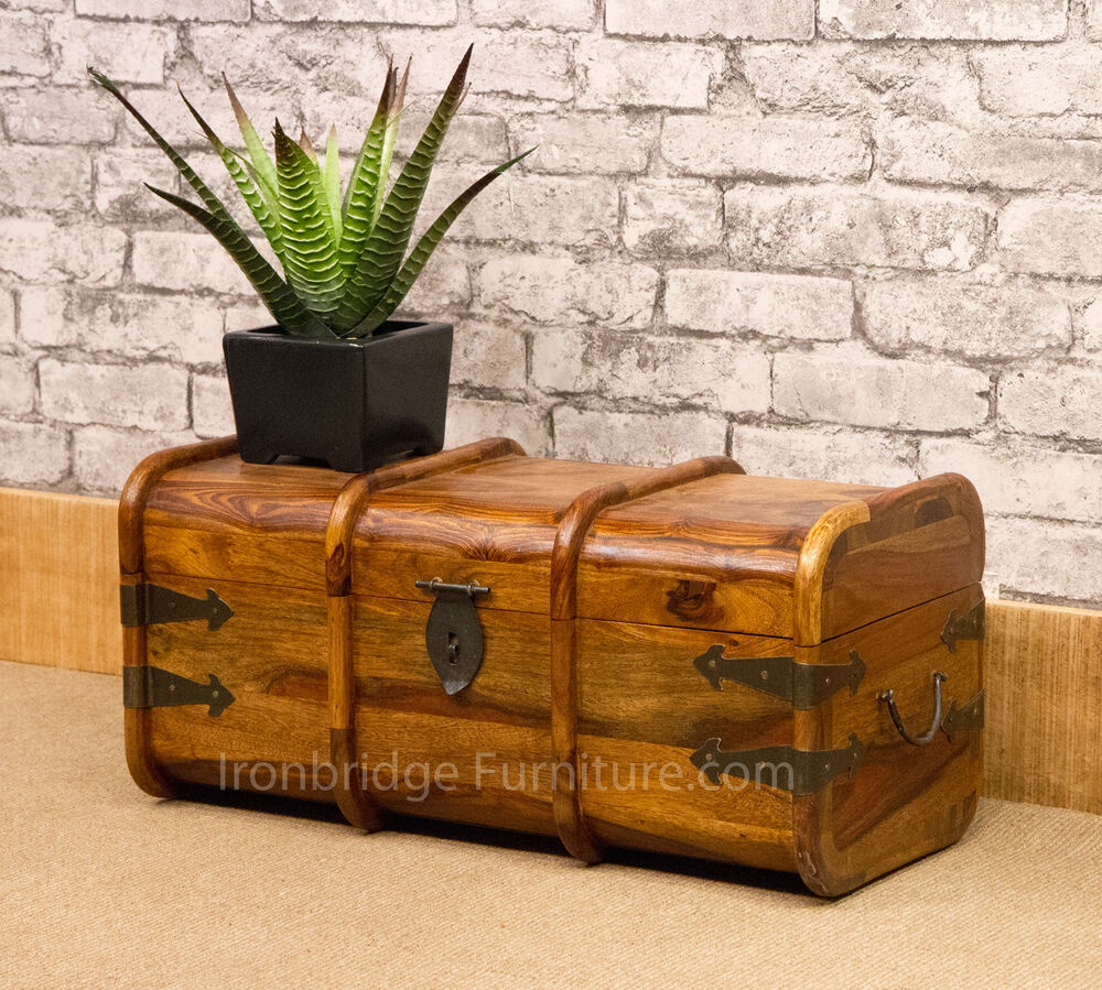 Solid Wood Indian Sheesham Jali Mariners Chest Storage