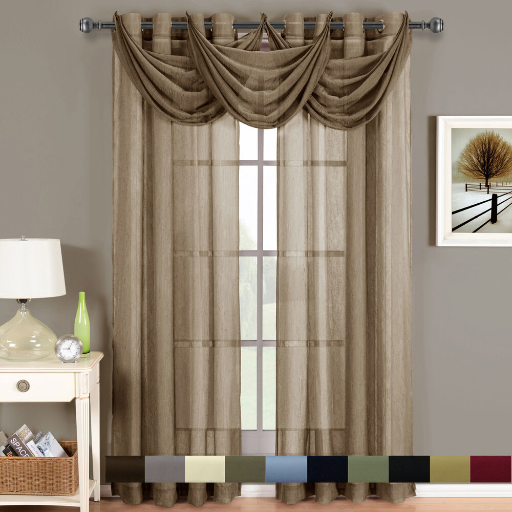 abri grommet crushed sheer window treatments panel or valance beautiful decor ebay. Black Bedroom Furniture Sets. Home Design Ideas