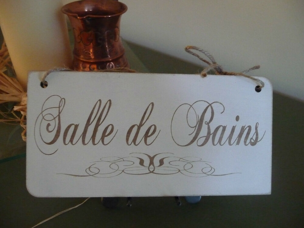 shabby chic wooden salle de bains bath door bathroom sign plaque home vintage ebay. Black Bedroom Furniture Sets. Home Design Ideas