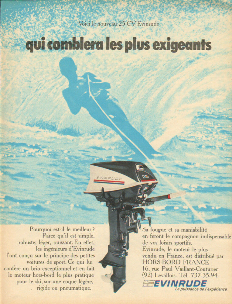 publicit 1969 le nouveau 25 cv evinrude moteur hors bord bateau ebay. Black Bedroom Furniture Sets. Home Design Ideas