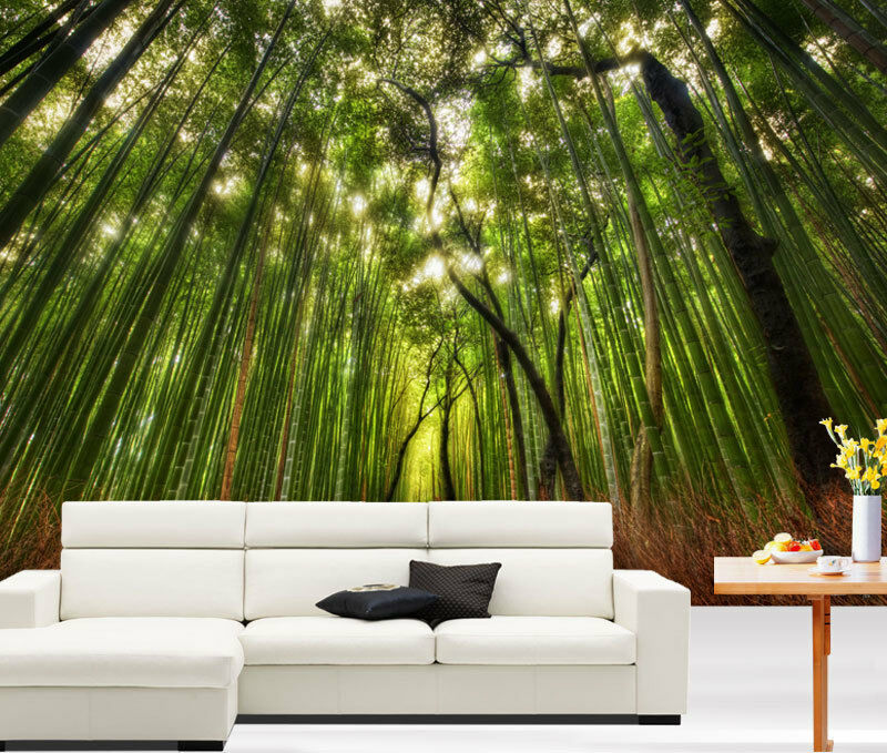Bamboo forest footpath green 3d full wall mural photo for Bamboo wall mural wallpaper