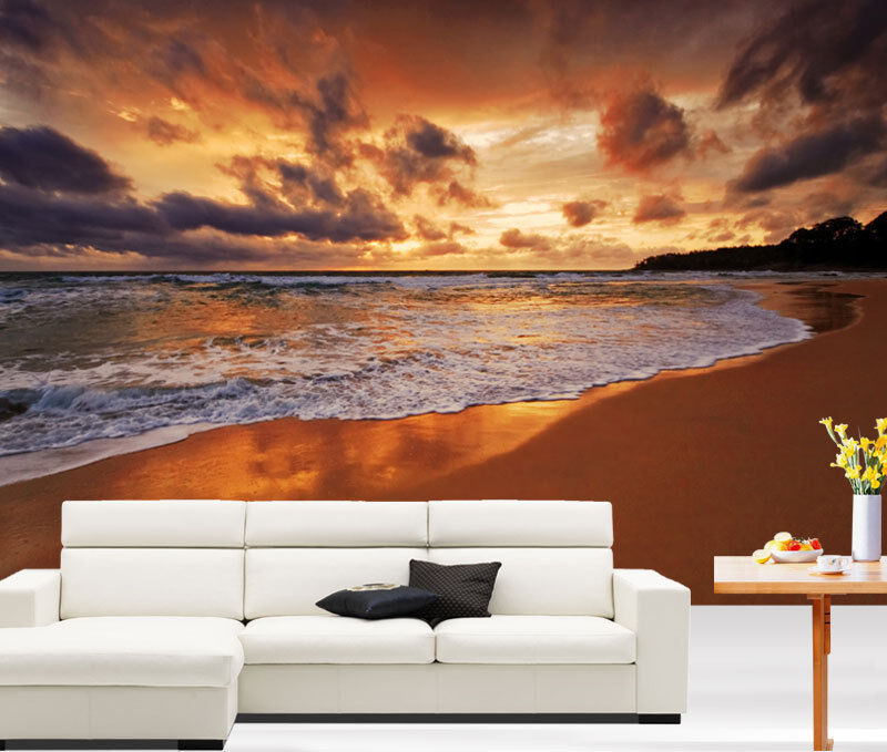 Stunning beach sunset scenery 3d full wall mural photo for Home wallpaper ebay