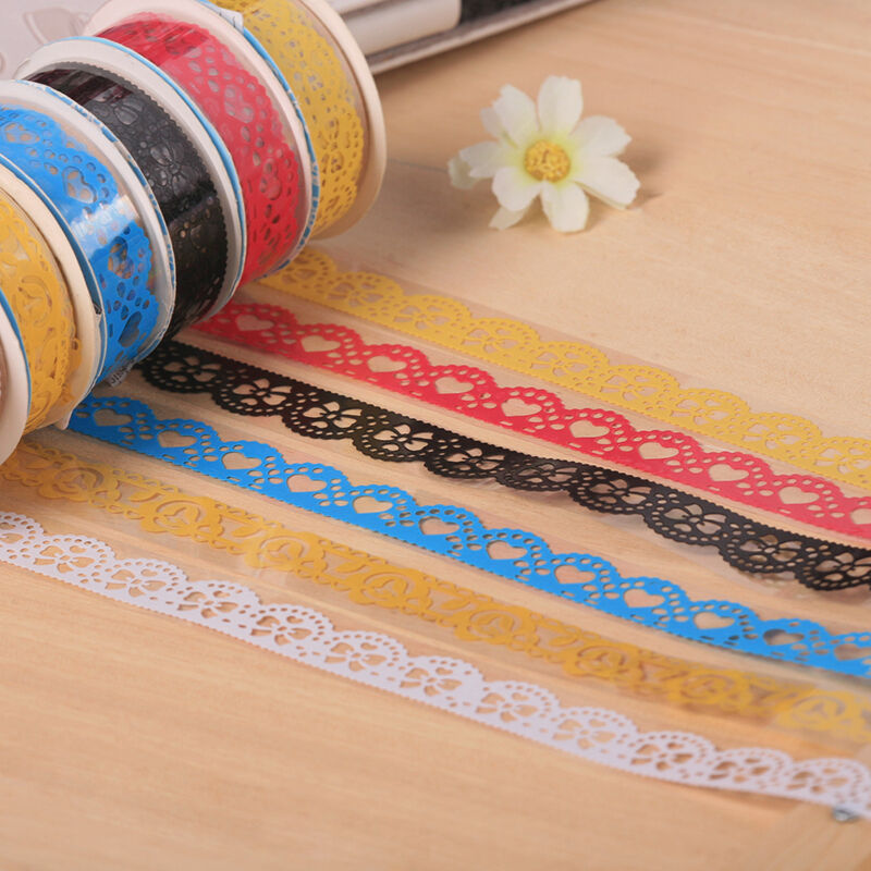 lace tape adhesive stickers roll washi paper decor sticky. Black Bedroom Furniture Sets. Home Design Ideas