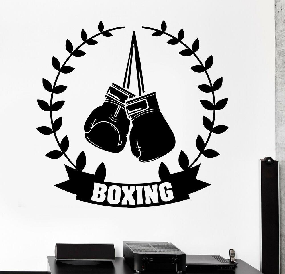 Wall Sticker Sport Boxing Gloves Box Champion Martial Arts ...