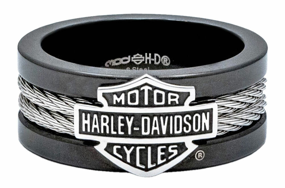 Harley Davidson Men S Ring Bar Amp Shield Steel Cable Band