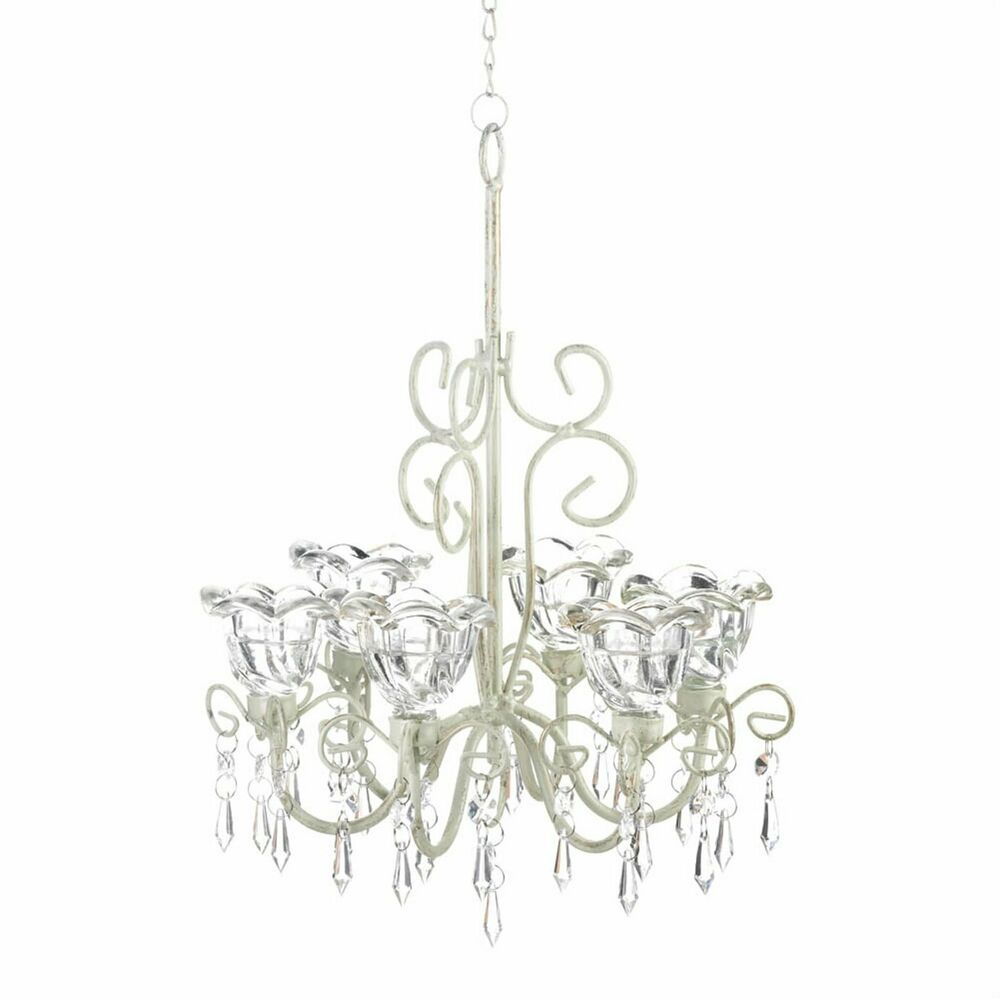 Crystal Chandelier Flowers Distressed Ivory Candleholder