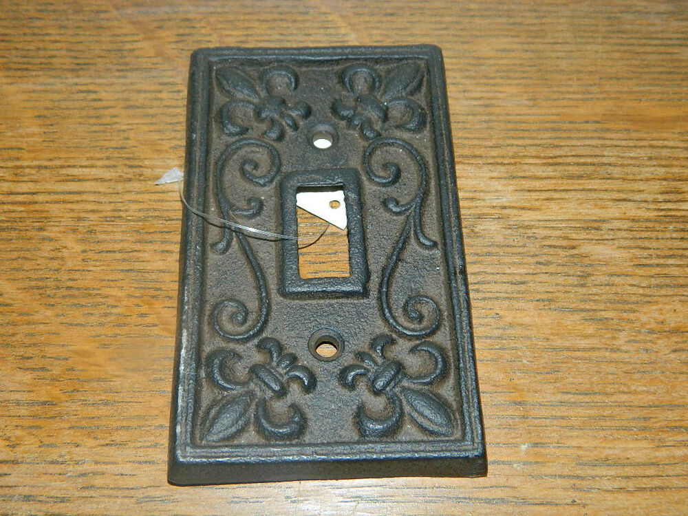 Rustic cast iron french fleur de lis single light switch outlet plate cover ebay - Wrought iron switch plate covers ...