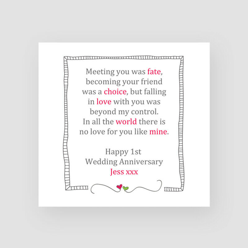 10th Wedding Anniversary Gifts For Husband Uk : ... Fate Anniversary CardHusband, Wife, 1st, 10th, ANY YEAR eBay