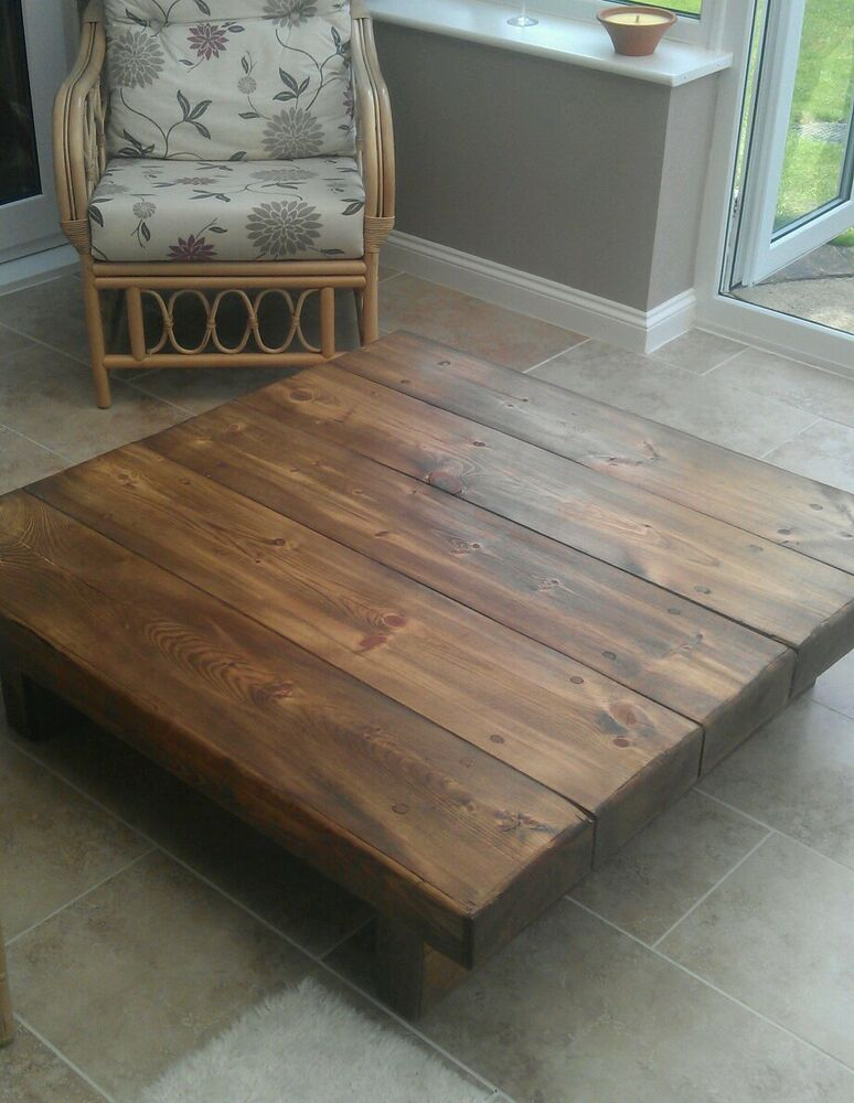 Chunky solid wood large coffee table caveman furniture for Large chunky coffee table