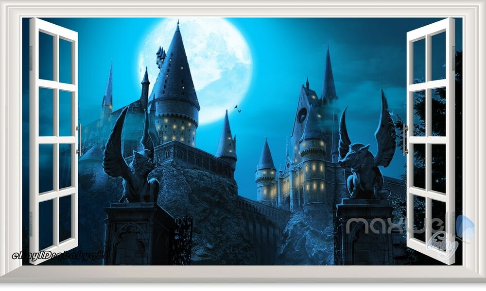 Harry potter hogwarts castle 3d window wall decals for Castle wall mural sticker