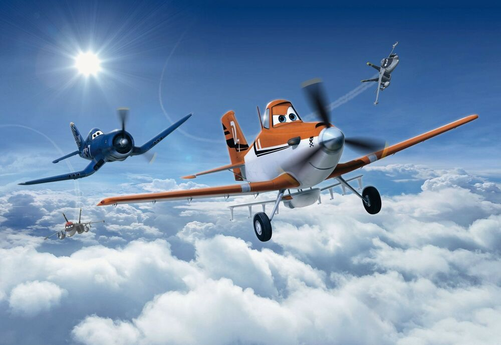 Planes above the clouds wallpaper wall mural for kids for Disney pixar cars mural wallpaper